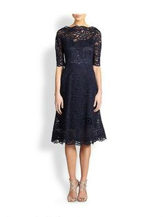 Kappe / Kolonne Bateau Lace Tea-length Evening Dress