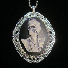 Rockabilly Skeleton Elvis Cameo Necklace by SlinkSkull