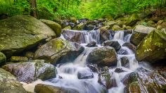 """Hiking Shoes Required - It was right before this shot I fell, clutching my camera and tripod in one hand and trying to brace my fall with the other, onto one of these slippery rocks wearing sneakers. Hence the title  """"Hiking Shoes Required"""" ."""