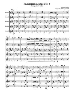Hungarian Dance No. 5 - Free Sheet Music Arrangement For Five Violins