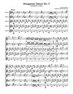 Hungarian Dance No. 5 - Free Sheet Music Arrangement For Five Violins