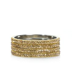 Dazzle the crowd with one or stacks of Raquel gold vermeil bangles sparkling with pave crystals all around.