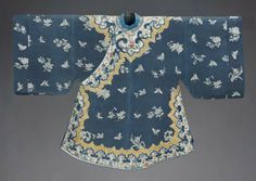 Woman's domestic semi-formal coat (ao)      Chinese (Han), Qing dynasty, 1870–80       China Dimensions     95 x 141.3 cm (37 3/8 x 55 5/8 in.) Medium or Technique     Silk plain weave (crepe) resist-dyed with overdrawn details, silk embroidery; metal buttons
