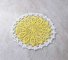 Yellow Flower and Crowns Crochet Doily Home Decor by NutmegCottage, $8.50