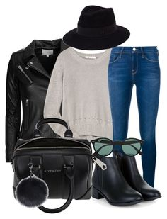 """""""Untitled #514"""" by claudiadessi on Polyvore featuring IRO, T By Alexander Wang, Frame Denim, Givenchy, Ray-Ban, Maison Michel, women's clothing, women, female and woman"""