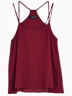 Red Solid Cami with Strappy Back