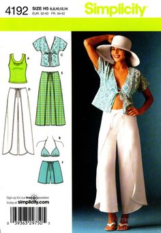 Simplicity 4192 Misses Wrap Pants Shorts Kimono Top Bra Top Sewing Pattern. Pattern 4192 is UNCUT and in factory folds. Kimono Pattern, Pants Pattern, Top Pattern, Plus Size Sewing Patterns, Simplicity Sewing Patterns, Kimono Shirt, Kimono Top, Wrap Pants, Short Kimono