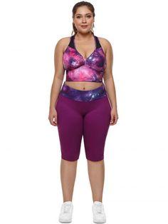 3ee294ebc8435 Plus Size Pink Purple Galaxy Print Mesh Insert Racerback Sports Bra