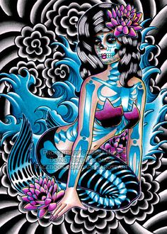 Sirens Song Day of the Dead Sugar Skull Mermaid Girl Tattoo Flash Print By Carissa Rose 5x7. $5.00, via Etsy.