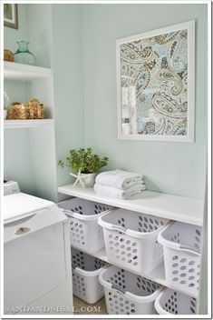 laundry-room-sorting-station- great idea! Each person has 2 baskets (maybe color coordinating for easy retrieval.) They bring the full dirty ones to the shelf and retrieve the clean folded one from the shelf. That way, they can help with the laundry even if they can't reach the controls. GOOD IDEA???