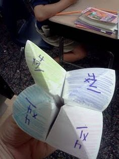 """math catchers""--fortune tellers that are used to practice multiplication facts"