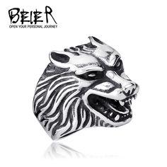 Barato De uma peça navio da gota moda jóias Super Cool lobo anéis de aço inoxidável Punk Biker Man anel BR8 075 eua tamanho, Compro Qualidade Anéis diretamente de fornecedores da China: