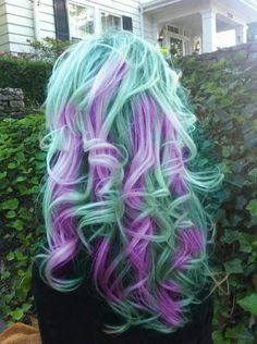 Try a simliar look to this with our hair dyes  - atomic turquoise and mystic heather!