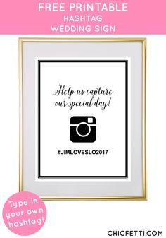 Free Printable Instagram Wedding Sign