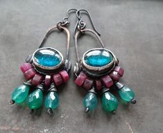 Ruby quartz blue glass kuchi dangle beaded by DiPiazzaMetalworks