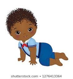 Vector cute African American baby boy dressed in nautical style. Black Baby Boys, Black Babies, Little Boys, African American Babies, American Baby, Nautical Fashion, Nautical Style, Baby Boy Dress, Beginner Painting