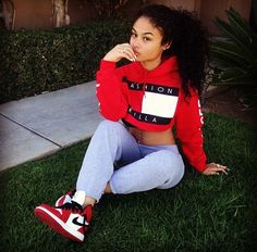Sweatpants. Tommy Hilfiger Hoodie. Nike Sneakers. High Tops. Sneakers Outfit. Urban Fashion. Urban Outfit. Hip Hop Fashion. Hip Hop Outfit. Swag. Dope. Swag Girl. India Westbrooks Style