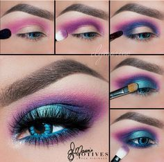 Electric, neon, turquoise, blue, purple, pink, eye makeup #motivescosmetics
