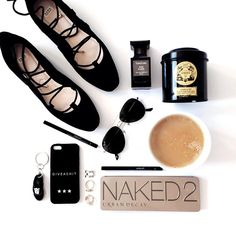 fashion flatlay, naked 2, coffee, black shoes, letterbag case