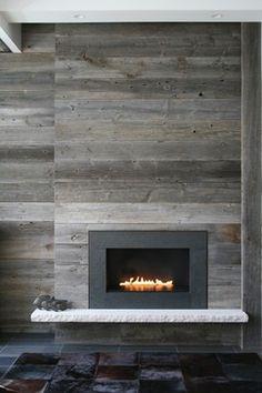 Barn wood fireplace. #reclaimedwood #woodprojects #barnwood