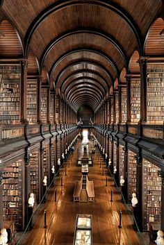 Trinity College Library at University of Dublin, Ireland  So magical being surrounded by all this history in an amazing building. I felt like I had stumbled into Hogwarts - it was awesome!