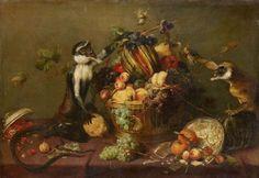 """""""果物籠を荒らす二匹の猿"""" 17世紀前~中期 フランス・スネイデルス"""