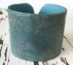 SALE Dark turquoise cuff bracelet, distressed and rustic, handmade jewelry by theshagbag on Etsy. $17.95, via Etsy.