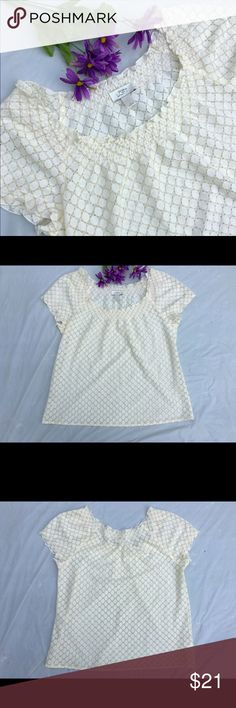 """Loft smocked neck metallic lace top L Beautiful top, worn exactly once and in pristine condition! Gold thread woven throughout. Approx 42"""" bust, 25"""" length. ✅offers❌trades/PP bundles save 20% off 2+ LOFT Tops"""