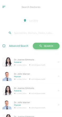 Search Doctor Mobile app design