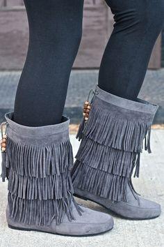 NanaMacs Boutique - Forever Fringe Moccasin Boots (Grey), $36.00 (http://www.nanamacs.com/forever-fringe-moccasin-boots-grey/)