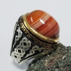 TURKISH 925 sterling silver men ring red agate stone carnelian aqeeq stone mens ring jewelry gemstone men rings all sizes red carnelian ring Antique Rings, Vintage Rings, Mens Ring Sizes, Red Agate, Agate Stone, Blue Rings, Silver Man, Handmade Silver, Sterling Silver Rings