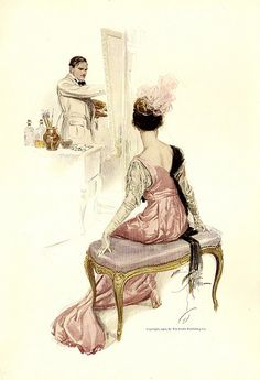 """His Model"" Illustration  by  Harrison Fisher. Is that H. Fisher? and is that Great Aunt Maggie as his model?........"