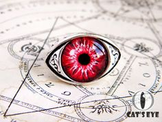 Adjustable human eye ring  red fantasy eye от CatsEyeHandmade