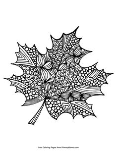 Free printable Fall coloring pages for use in your classroom or home from PrimaryGames. Leaf Coloring Page, Fall Coloring Pages, Adult Coloring Pages, Coloring Books, Doodle Art Drawing, Zentangle Drawings, Zentangle Patterns, Mandala Doodle, Mandala Art
