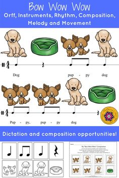 Your elementary music students will LOVE the music lessons and activities! Fun instrument rotation, rhythmic dictation and group composition! Orff arrangement included!
