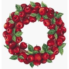 Red Apple Wreath, perfect for Christmas! Thanksgiving Wreaths, Easter Wreaths, Fall Wreaths, Christmas Wreaths, Apple Theme Parties, Apple Wreath, Apple Kitchen Decor, Apple Decorations, Easter Projects