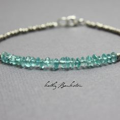 Apatite and Sterling Silver Seed Bead Bracelet