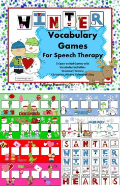 Winter, Christmas and Valentine fun! 3 printable speech therapy games- one for each month. Spell the word Santa, Winter or Hearts to win the game. This pack includes games, vocabulary lists and language development questions. Perfect as an open-ended motivational activity with any target. Seasonal Vocabulary • Categories • Name to a Description • Object Function • Where? What? Who? • Prepositions • Yes/No questions From More Than Words on TPT.