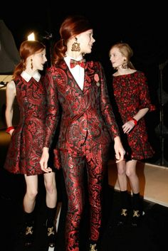 cool chic style fashion: Moschino Fall/Winter 13-14 fashion show - I <3 the two dresses in the background :)