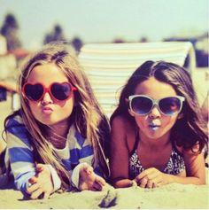 girls on the beach / heartshpaed sunglasses