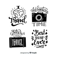 Collection of lettering travel badges Free Vector Lettering Tutorial, Hand Lettering Quotes, Typography Quotes, Travel Gallery Wall, Travel Doodles, Travel Journal Pages, Quotes Arabic, Cool Journals, Bullet Journal Art