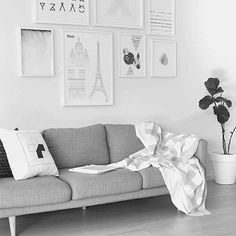 Superb living area styled by the fab @thedesignchaser - featuring throw by @kateandkatehome and cushion by @design.ministry - #blackandwhite #shadesofgrey #throw #crosses #monochrome #monochromeinterior #greenery #designchaser #livingroom