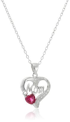 "Sterling Silver ""Mom"" Heart  Pendant Necklace with 6 mm Ametyst and Diamond Accent, 18"" (0.005 cttw, H Color, SI2 Clarity): Jewelry"