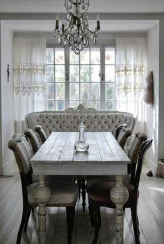 Shabby Chic Dining Room Ideas Images) - Home Magez Shabby Chic Dining Room, Shabby Chic Kitchen, Shabby Chic Homes, Shabby Chic Furniture, Entryway Furniture, French Furniture, Plywood Furniture, Furniture Ideas, Modern Furniture