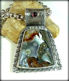 RESERVED FOR M Ocean jasper and garnet necklace large by Marajoyce