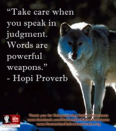 Take care when you speak in judgment. Words are powerful weapons. - Hopi proverb, Native American Indian saying Native American Prayers, Native American Spirituality, Native American Wisdom, Native American Tribes, Native American History, American Indians, Native Americans, American Symbols, Wise Proverbs
