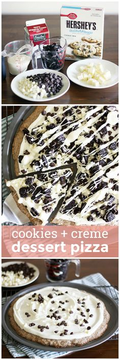 Cookies & Creme Dessert Pizza -- A cookies and creme cookie base topped with creamy frosting, chocolate chips and crushed Oreos. Are you drooling yet? girlversusdough.com @girlversusdough