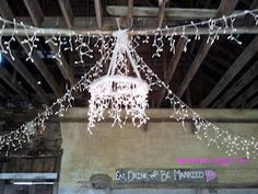 Hula Hoop Chandelier using tulle and Christmas lights
