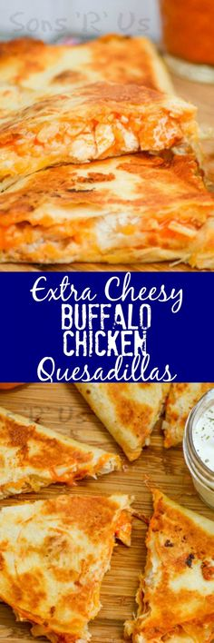 Your favorite wings just met your favorite ooey, gooey Tex Mex treat with these crispy Extra Cheesy Buffalo Chicken Quesadillas. It was destiny, and it is glorious. An extra cheesy, crisp quesadilla that features the bold flavor of buffalo chicken wings. Mexican Food Recipes, New Recipes, Cooking Recipes, Favorite Recipes, Recipies, Tofu Recipes, Recipes Dinner, Couscous Recipes, Tilapia Recipes