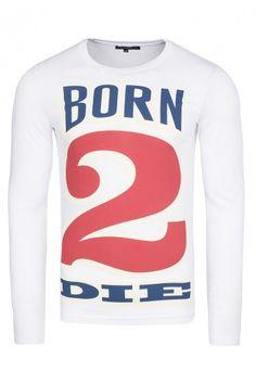 97ce98578a3f52  Weiß  Langarm-Shirt  Aufdruck  Herrenmode cooles Langarm-Shirt mit einem